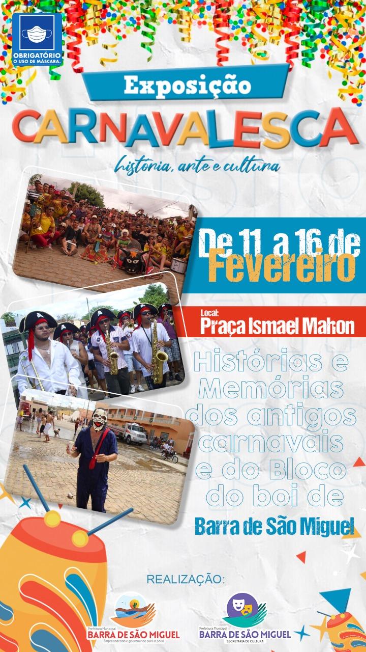 Cultura: Prefeitura de Barra de São Miguel realizará exposição Carnavalesca