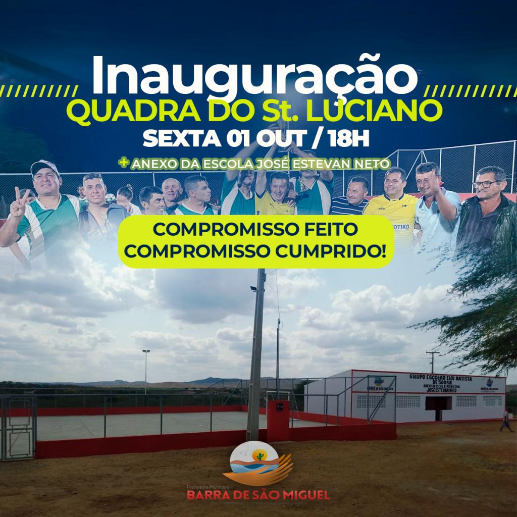 Prefeitura entrega quadra poliesportiva no sítio Luciano nesta sexta-feira 01